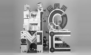 HOME, Paper illustrations on 3D letters